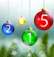 christmas balls and tree on a background vector image vector image
