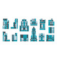 collection city buildings a set glass vector image