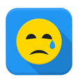 Crying yellow smile app icon with long shadow vector image vector image