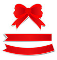 cute red bow on white background vector image vector image