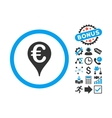 Euro Bank Map Pointer Flat Icon with Bonus vector image vector image