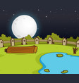 farm scene with swamp and big moon at night vector image vector image