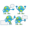 globe planet earth cartoons wearing protective vector image