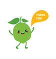 green lime character saying thank you vector image vector image