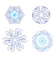 guilloche rosette set in blue vector image vector image