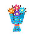 happy birthday flower bouquet gift vector image