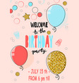 happy birthday party card hand drawn modern vector image vector image