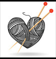 heart wool knitting needle isolates hobby vector image vector image