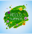 hello summer banner with flower vector image vector image
