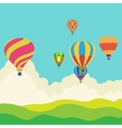 hot air balloon in sky vector image vector image
