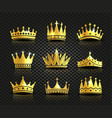 isolated golden color crowns logo collection on vector image