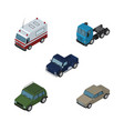 isometric car set of auto truck armored and vector image vector image