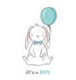 it s a boy cute bunny holding a blue balloon vector image