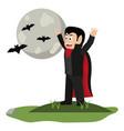 kid and halloween cartoon vector image