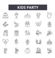 kids party line icons signs set outline vector image vector image