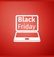 laptop with black friday sale on screen icon vector image