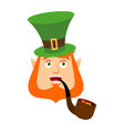 leprechaun happy dwarf with red beard merry emoji vector image