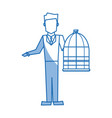 man holding a cage bird empty veterinary concept vector image vector image
