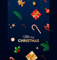 merry christmas background design with fir vector image