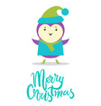 merry christmas greeting card small purple bird vector image vector image