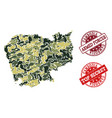 military camouflage composition of map of cambodia vector image vector image