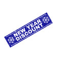 new year discount scratched rectangle stamp seal vector image vector image