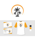 palm tree logo design with business card and t vector image