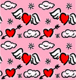 Pattern with hearts and clouds vector image