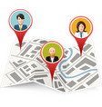 People on map gps location icon isolated vector image vector image
