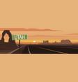 road trip utah sign and landmarks vector image