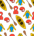 seamless pattern with equipment for kayaking-6 vector image vector image