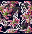 seamless pattern with lilies flowers vector image vector image