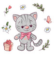 set little kitty and flowers hand drawing vector image vector image