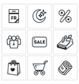 Set of Black Friday Icons Calendar Night vector image vector image