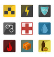 set of icons emergency special services and vector image