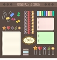 Set of pages notebook with stickers colored tape vector image vector image