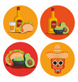 set tequila with avocado sauce and skull to event vector image