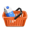 Shopping cart with a milk carton vector image