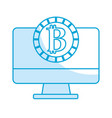 silhouette computer technology with bitcoin vector image vector image