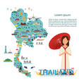 thailand landmarks and northern thai girl vector image vector image