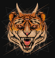 tiger head angry face with horn and three eyes vec vector image