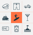 travel icons set with cocktail motor ship pickup vector image