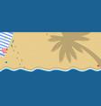 tropical island sandy beach with towel flip flops vector image vector image