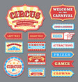 vintage circus labels and carnival signboards vector image vector image
