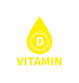 vitamin d icon sun shape capsule pill yellow drop vector image vector image