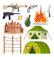 warfare military icons hospital bomb vector image vector image