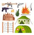 warfare military icons hospital bomb vector image
