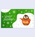 winter holiday with penguin xmas postcard vector image vector image