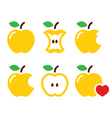 Yellow apple apple core bitten half icon vector image vector image