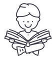 boy reading book line icon sign vector image
